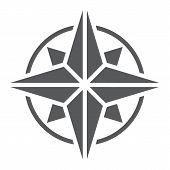 Compass Glyph Icon, Navigator And Geography, Windrose Sign Vector Graphics, A Solid Pattern On A Whi poster