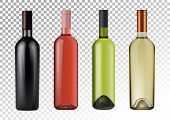 3d Realism. Vector Illustration. Set Of Wine Bottles In Photorealistic Style. Pink, White, Red Wines poster