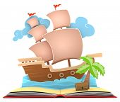 picture of pop up book  - 3D Illustration of a Pirate Ship on Book - JPG