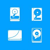 Hard Disk Icon Set. Simple Set Of Hard Disk Vector Icons For Web Design Isolated On Blue Background poster