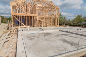 Slab On Grade Foundation Concrete For Timber Frame House In Usa poster