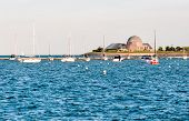 Landscape Of Lake Michigan With Adler Planetarium In Background. poster