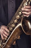 Saxophone Player Jazz Music Instrument. Alto Sax Musical Instrument Closeup poster