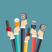 Microphones In Reporter Hands. Set Of Microphones And Recorders Isolated On Blue Background. Mass Me poster