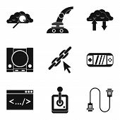 Pc Game Icons Set. Simple Set Of 9 Pc Game Vector Icons For Web Isolated On White Background poster