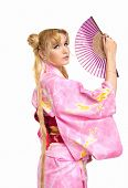 picture of fantail  - Beauty young woman portrait in kimono costume with fantail cosplay character - JPG