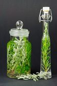 Herbs, Santolina, Rosemary, In Bottles For Cooking Or Medicine