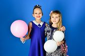 Children Girls In Dress, Family And Sisters. Little Girls In Fashionable Dress, Prom. Friendship, Lo poster
