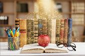 Color Colorful Stack Books Red Background Nobody poster