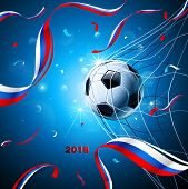 Soccer Ball With Flag Of Russia And Confetti On A Blue Background. Vector Illustration poster