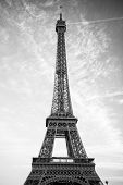 Eiffel Tower At Sunset In Paris, France. Love And Romantic Travel Background. Eiffel Tower Is Tradit poster