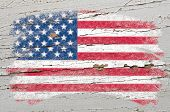 Flag Of Usa On Grunge Wooden Texture Painted With Chalk