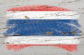 Flag Of Thailand On Grunge Wooden Texture Painted With Chalk