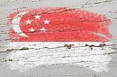 Flag Of Singapore On Grunge Wooden Texture Painted With Chalk