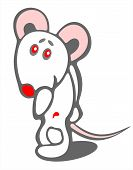 stock photo of pack-rat  - Stylized timid mouse on a white background - JPG