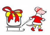 image of pack-rat  - Stylized mouse and gift box on a white background - JPG