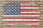 Flag Of Usa On Grunge Brick Wall Painted With Chalk