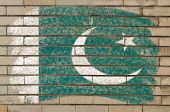 Flag Of Pakistan On Grunge Brick Wall Painted With Chalk