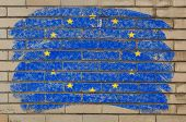 Flag Of Eu On Grunge Brick Wall Painted With Chalk