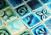 pic of ceramic tile  - Close up of blue patterned ceramic tiles - JPG