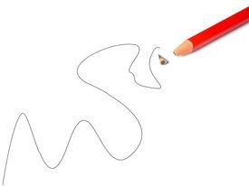 picture of errat  - A broken pencil on a white piece of paper with an erratic line drawn - JPG