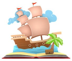 foto of pop up book  - 3D Illustration of a Pirate Ship on Book - JPG
