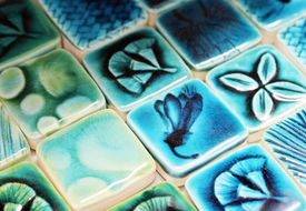 picture of ceramic tile  - Close up of blue patterned ceramic tiles.