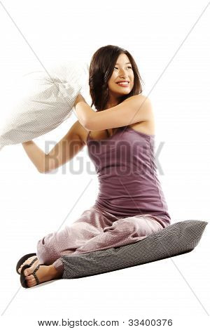 Young Asian Woman Holding Pillow