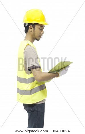 Male Worker Hold Clipboard