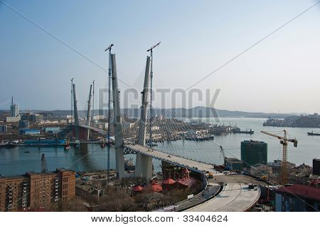 bridge across Zolotoy rog bay in Vladivostok