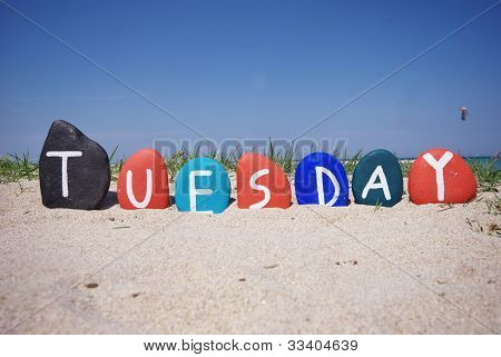 Monday, first day of the week on colourful stones