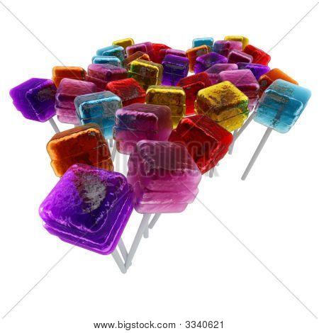 Lots Of Cubic Colorful Lollipops