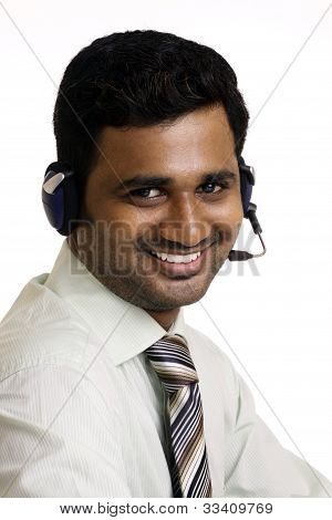Indian businessman working in call center