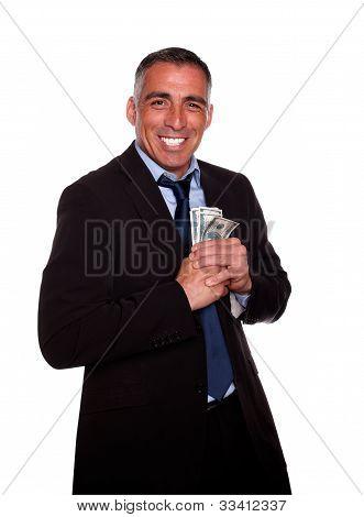 Ambitious Hispanic Executive Holding Cash Money