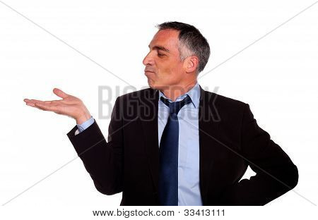 Attractive Broker Looking Extended Hand