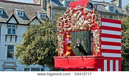 Traditional Punch And Judy Show, At British Seaside Resort