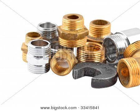 Plumbing pipe, valve and wrench