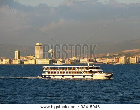 Ship On Izmir Downtown Background