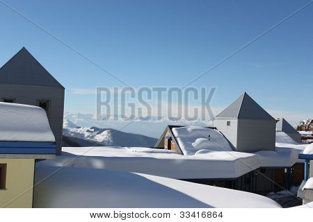 Snow-covered roofs