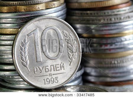 Russian Rouble Or Ruble Currency Coin With 10