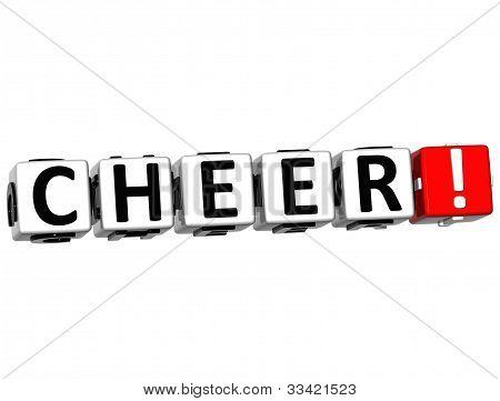 3D Cheer Button Click Here Block Text