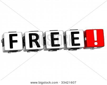 3D Free Button Click Here Block Text