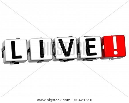 3D Live Button Click Here Block Text