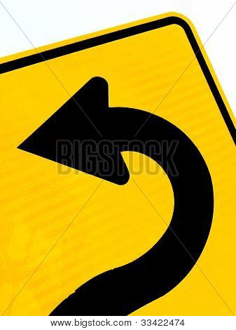 Arrow on roadsign pointing left for betterment