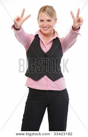 Smiling Woman Showing Victory Gesture