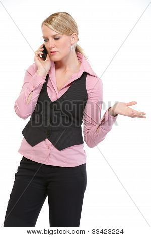 Woman Employee Speaking Mobile Phone