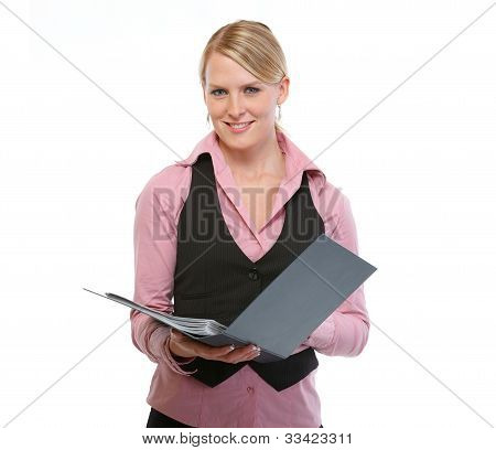 Woman Employee With Folder