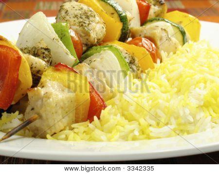 Chicken Kebab And Saffron Rice
