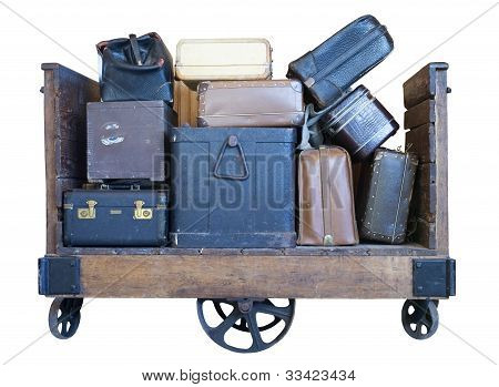 cart with vintage luggage