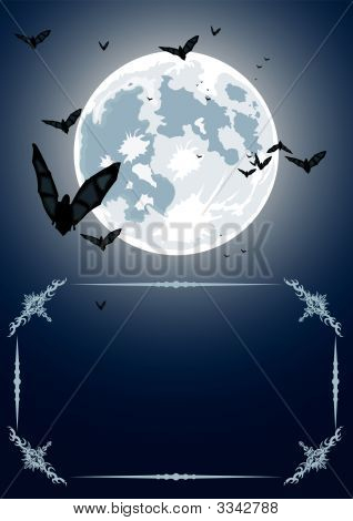 Vector Halloween Frame With Moon And Bats